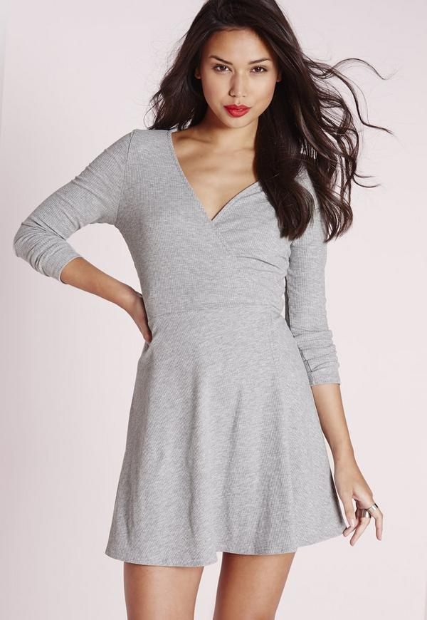 Long Sleeve Rib Wrap Tie Waist Dress Grey
