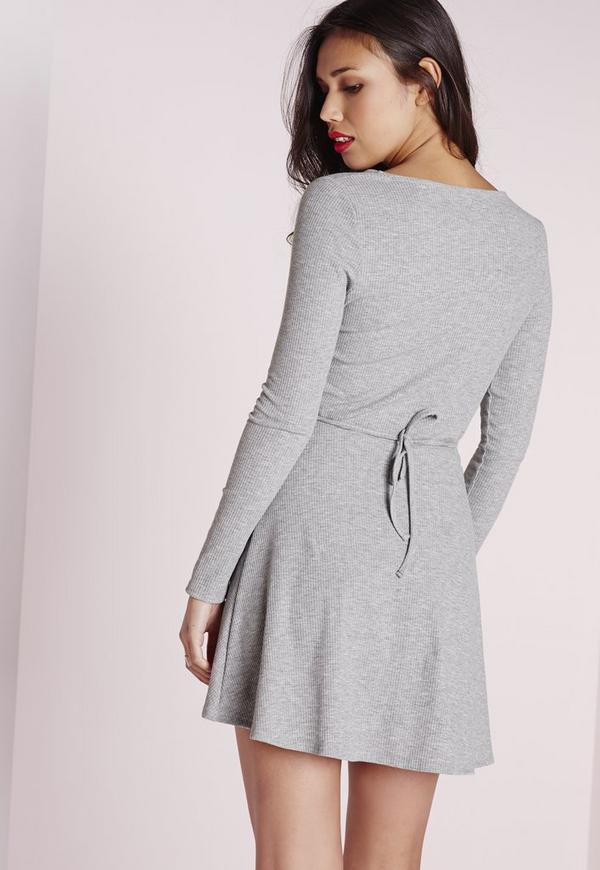 Long Sleeve Rib Wrap Tie Waist Dress Grey Missguided