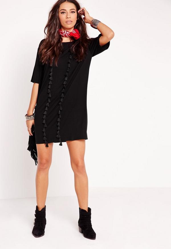 46371fe1847 ... Tassel Detail T-Shirt Dress Black. Previous Next