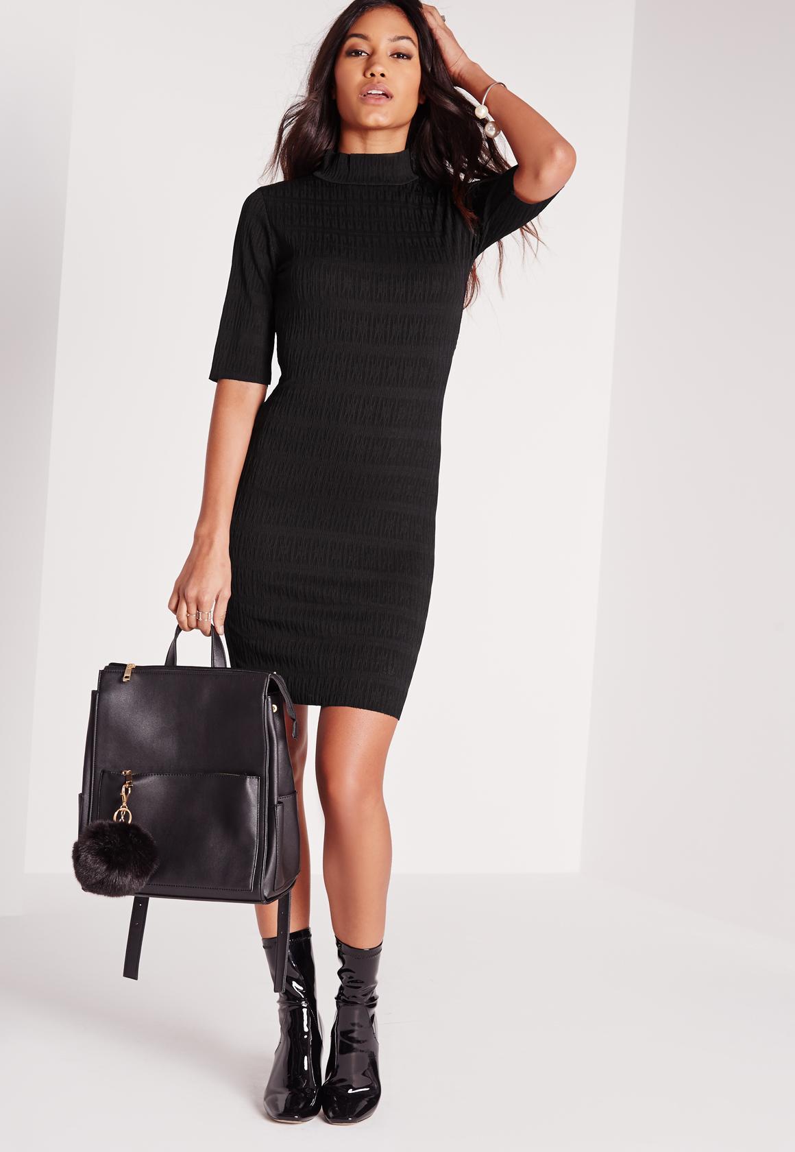 Short Sleeve Textured Dress Black