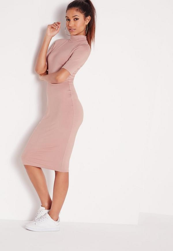 High Neck Short Sleeve Bodycon Dress Dusky Pink