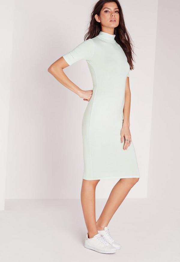 High Neck Short Sleeve Bodycon Dress Green