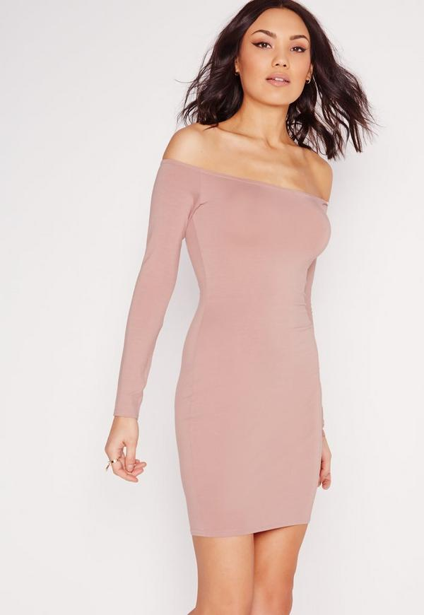 Bardot Long Sleeve Bodycon Dress Pink