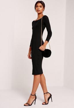 Long Sleeve Bardot Rib Midi Dress Black