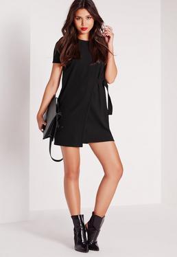 Short Sleeve Panel Front D-Ring Bodycon Dress Black