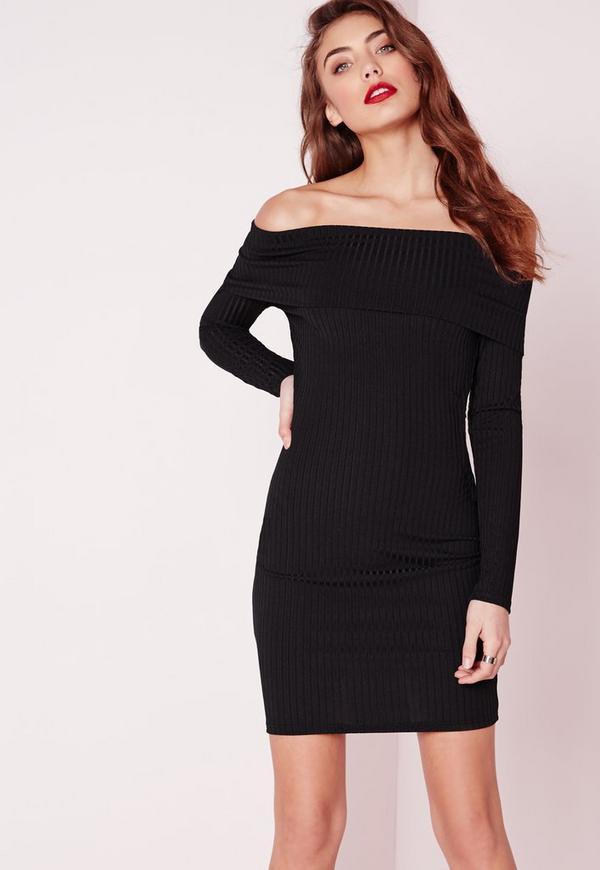 Bardot Long Sleeve Rib Bodycon Dress Black