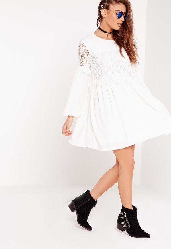 Lace Detail Smock Dress White