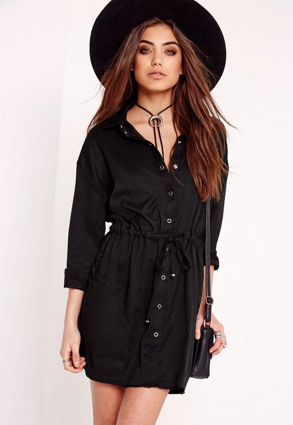 Toggle Waist Shirt Dress Black