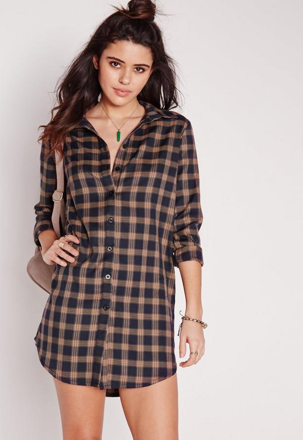 Long Sleeve Check Shirt Dress Navy/Rust