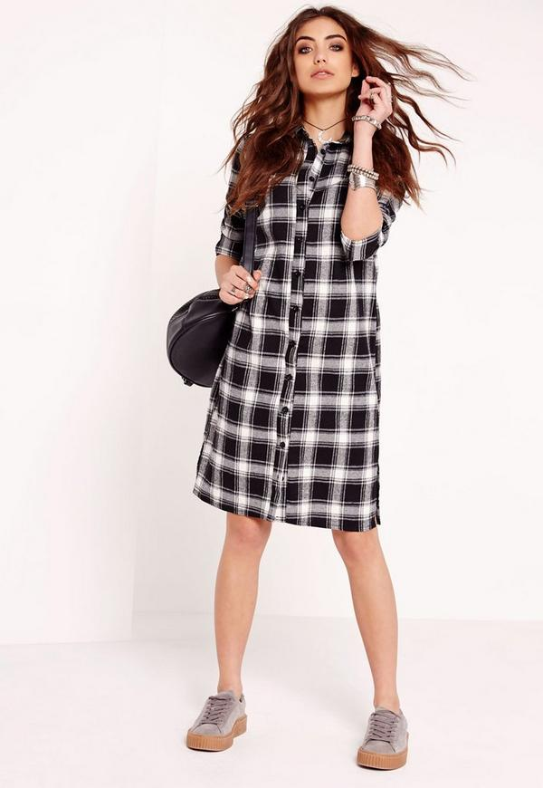 Long Sleeve Check Shirt Dress Black/White