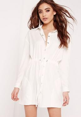 Toggle Waist Shirt Dress White