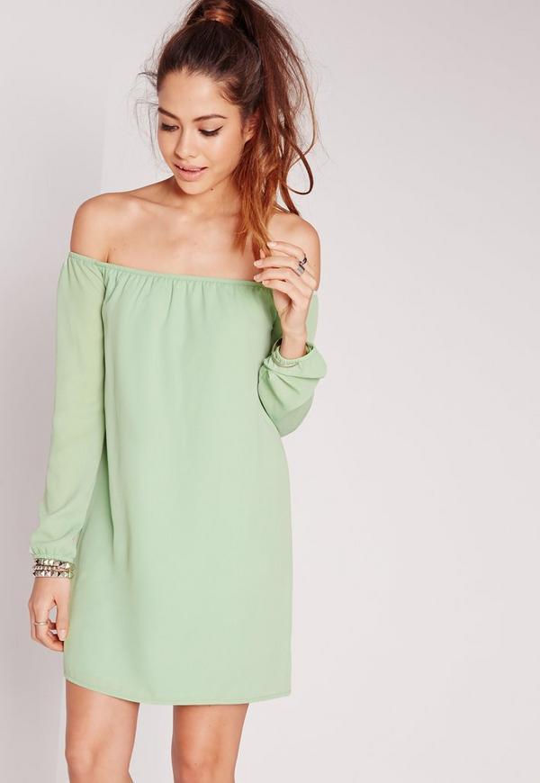 Bardot Swing Chiffon Dress Green