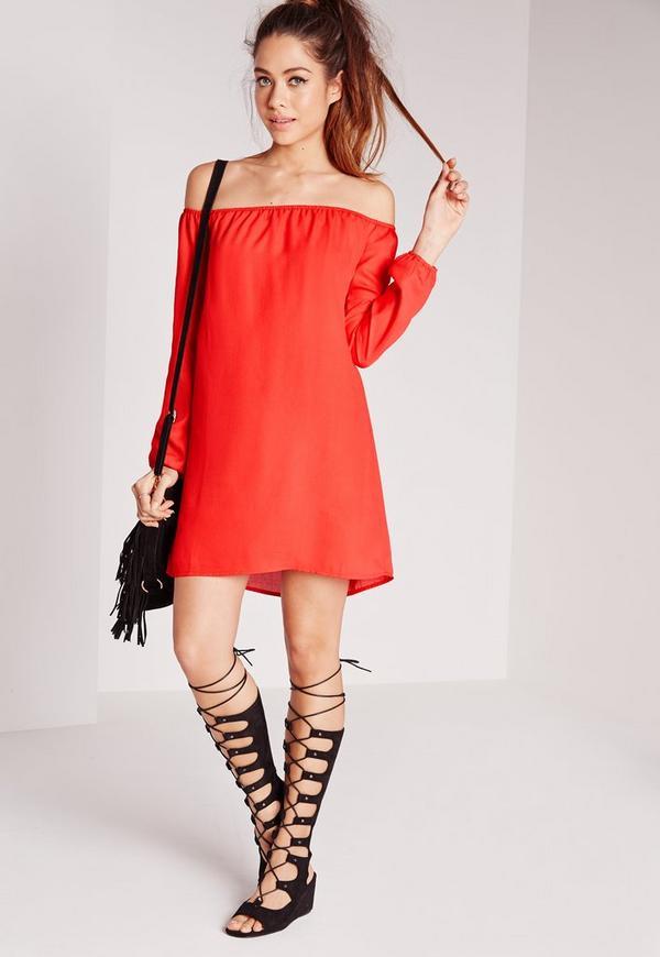 Bardot Swing Chiffon Dress Red