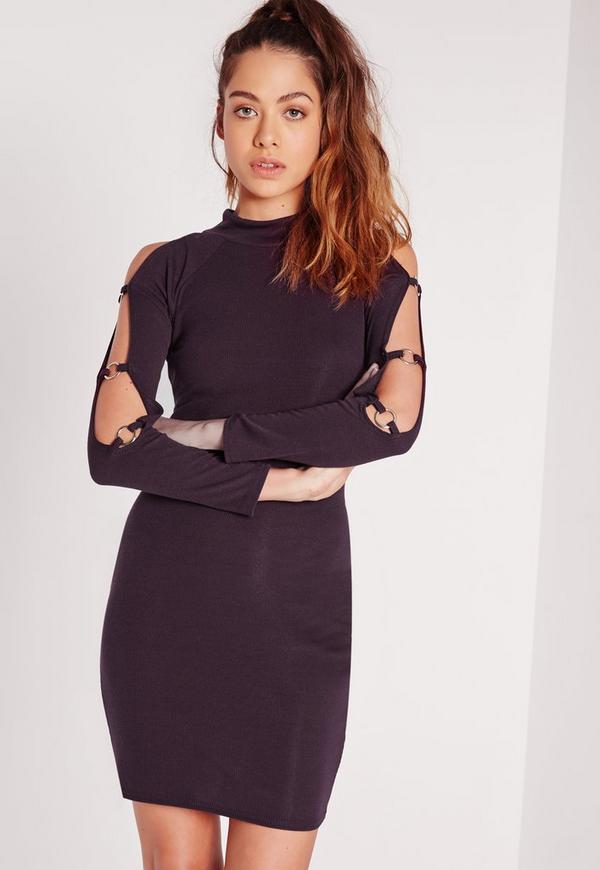 Ring Sleeve Bodycon Dress Purple