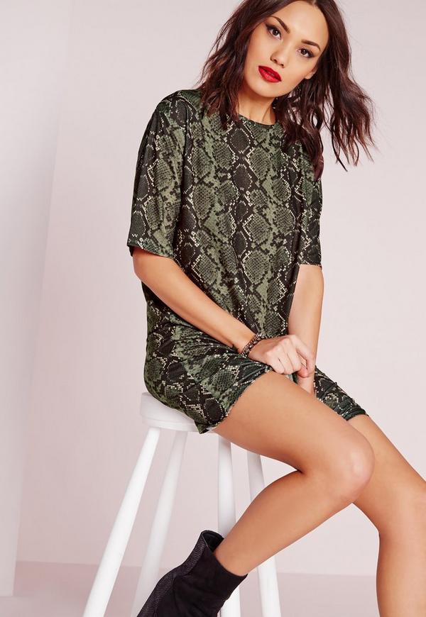 Snake Print T-Shirt Dress Khaki
