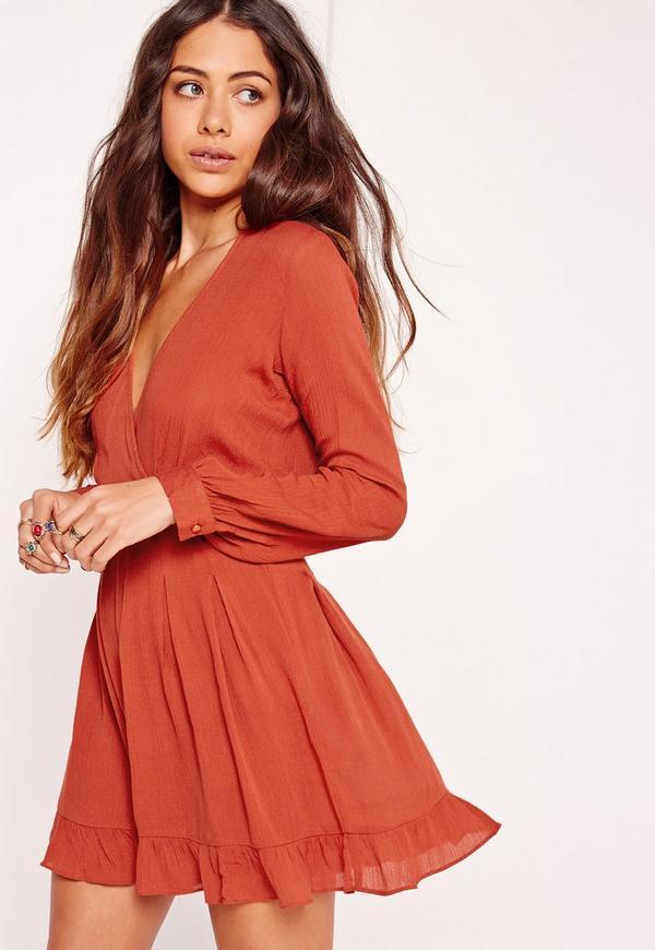 Long Sleeve Frill Plunge Skater Dress Orange