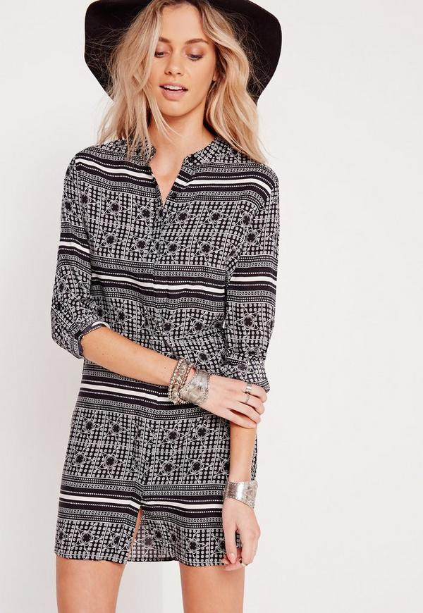 Collarless Tie Waist Print Shirt Dress Mono