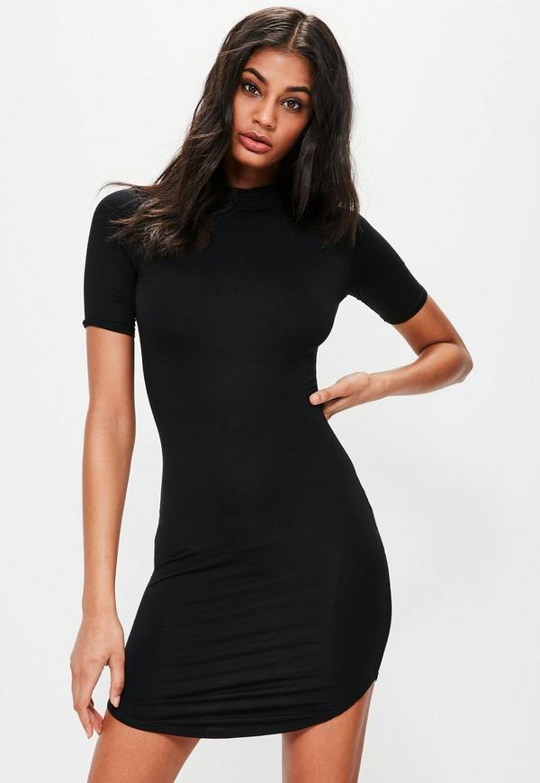 Short Sleeve Curve Hem Bodycon Dress Black