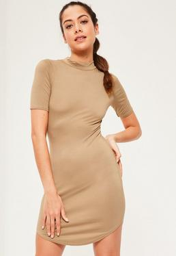 Short Sleeve Curve Hem Bodycon Dress Camel