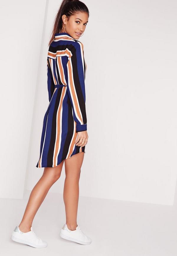 Long sleeve tie waist striped shirt dress multi missguided for Striped tie with striped shirt