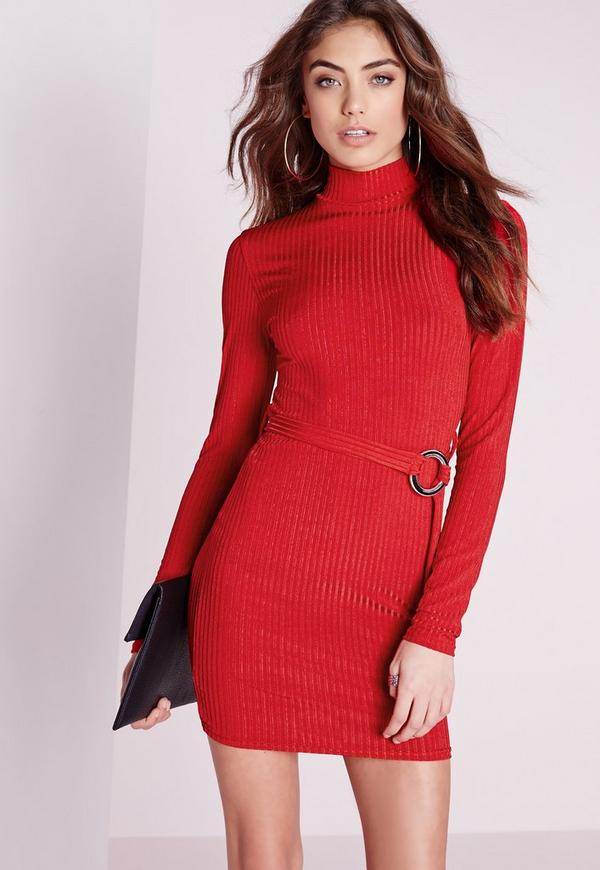 Long Sleeve High Neck Rib Belted Bodycon Dress Red