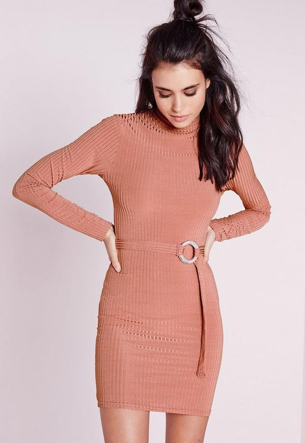 Long Sleeve High Neck Rib Belted Bodycon Dress Pink