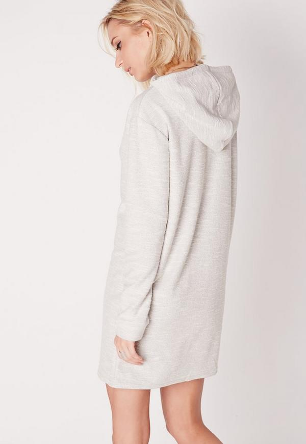 Grey Long Sleeve Hooded Sweater Dress | Missguided