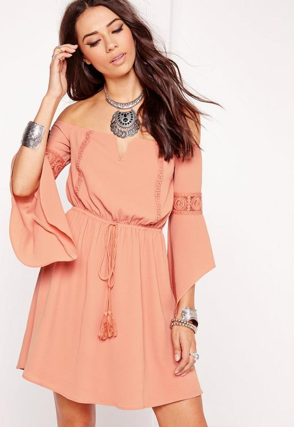 Flared Sleeve Embroidered Bardot Dress Pink