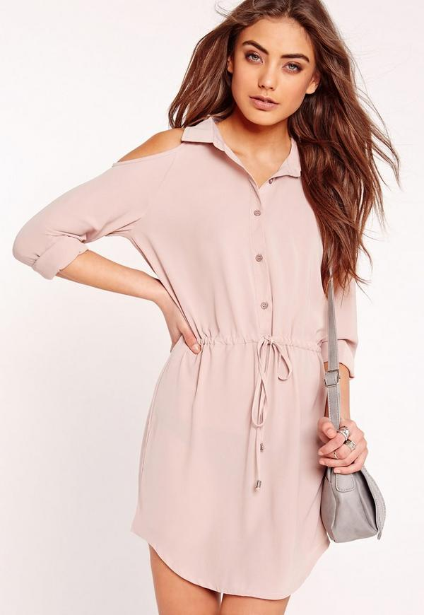 Cold Shoulder Tie Waist Shirt Dress Nude