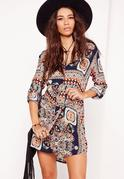 Tie Waist Paisley Print Shirt Dress Navy/Orange