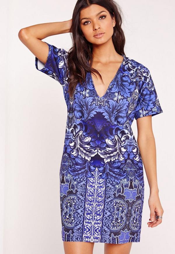 Short Sleeve Plunge Porcelain Shift Dress Blue