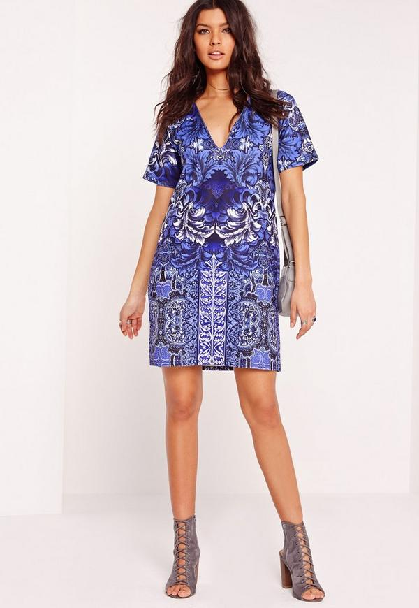 Short Sleeve Plunge Porcelain Shift Dress Blue | Missguided