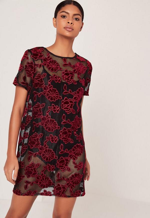 Embroidered V Back Dress Black