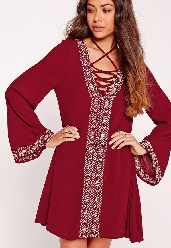 Flared Sleeve V-Neck Swing Dress Burgundy