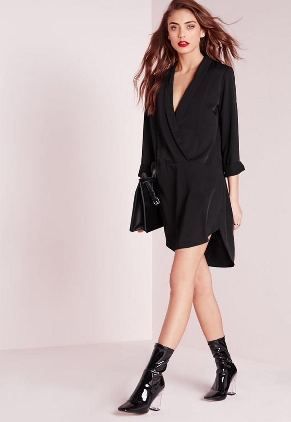 Long Sleeve Wrap Front Shirt Dress Black