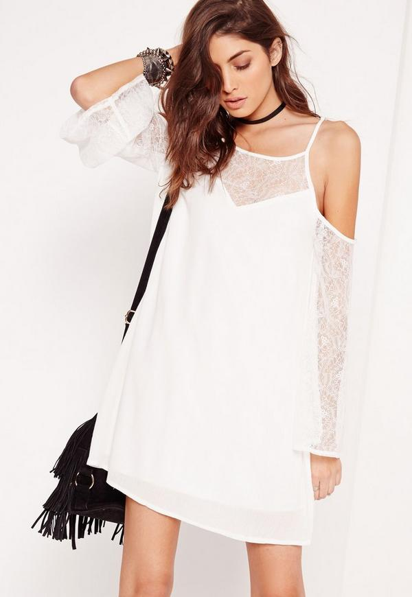 Cold Shoulder Lace Sleeve Swing Dress White