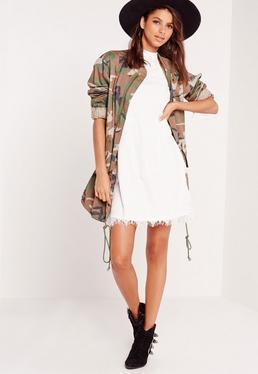 High Neck Lace A-Line Shift Dress White