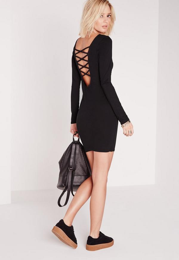 Long Sleeve Criss Cross Back Bodycon Dress Black