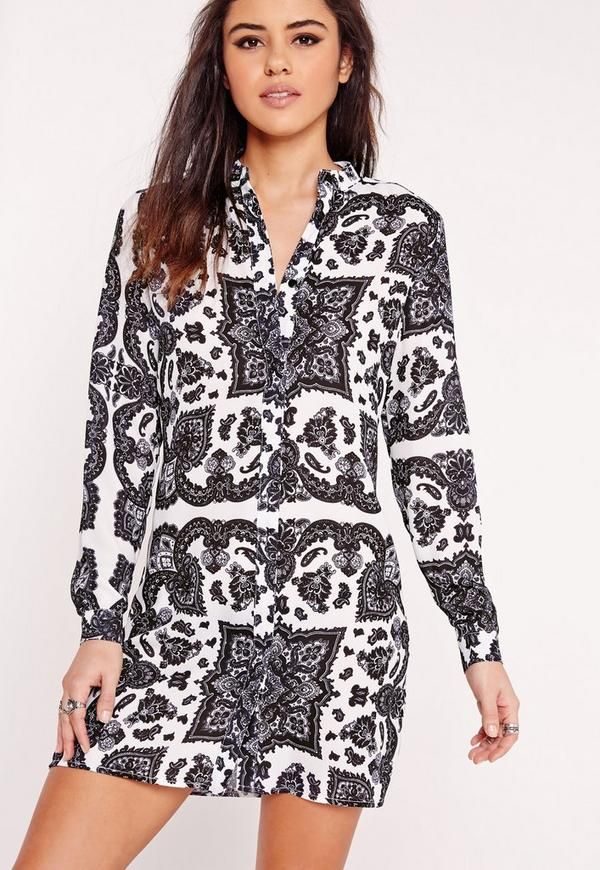 Collarless Shirt Dress White Scarf Print