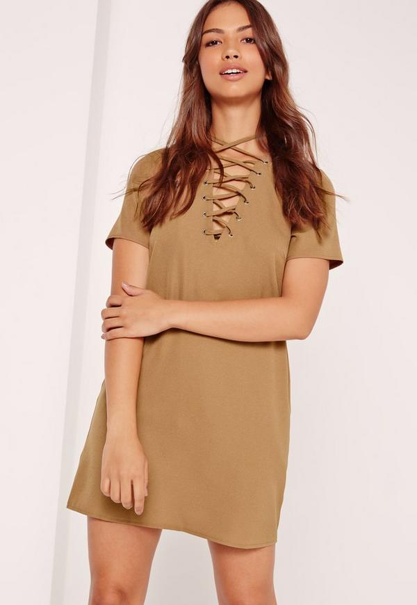 Lace Up Front Shift Dress Camel
