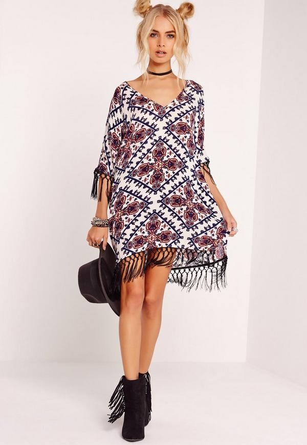 Cheesecloth Printed Fringe Dress Multi