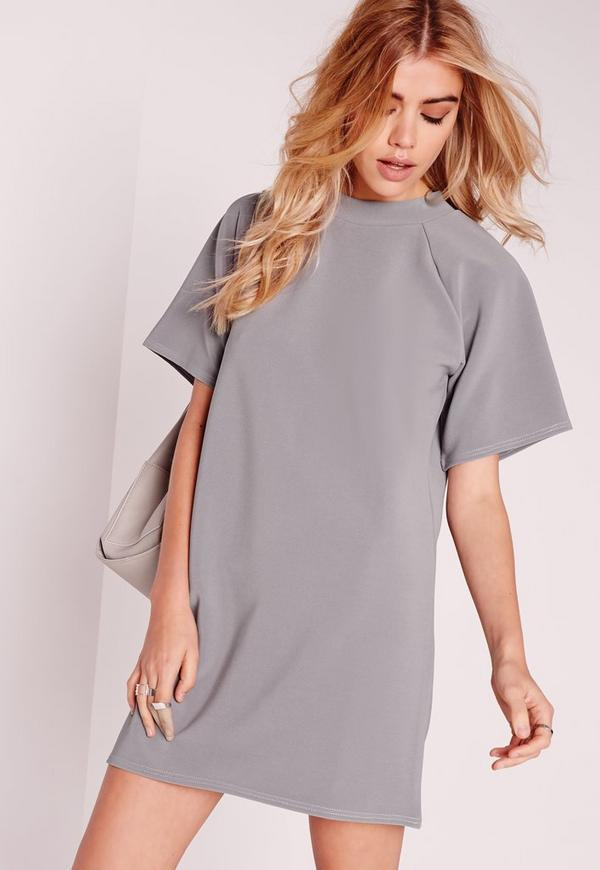 Grey Short Sleeve Oversized Sweater Dress | Missguided