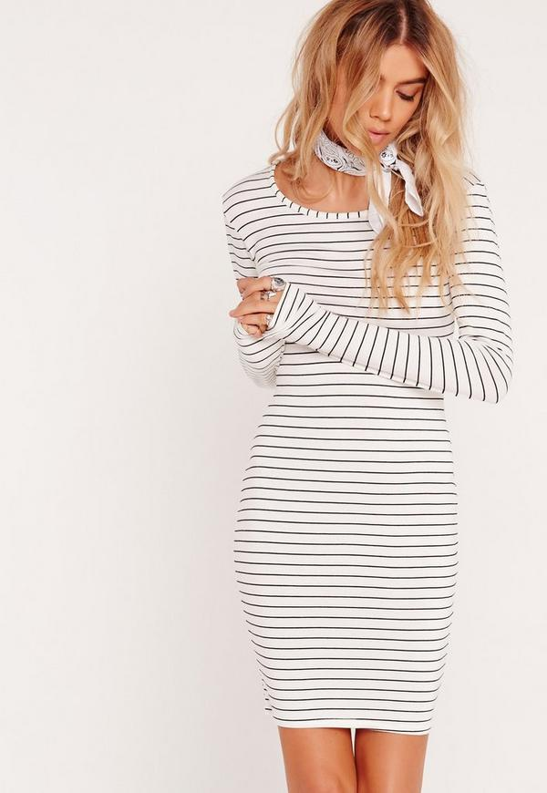 Long Sleeve Bodycon Stripe Dress