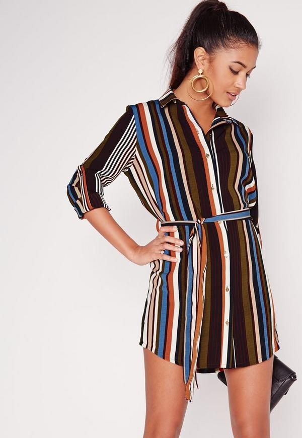 Long Sleeve Tie Waist Stripe Shirt Dress Multi