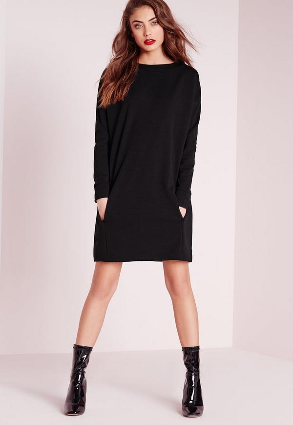 Pocket Front Jumper Dress Black