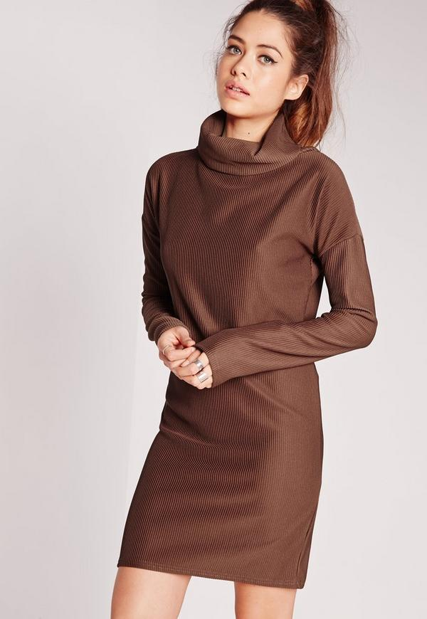 Roll Neck Ribbed Shift Dress Brown