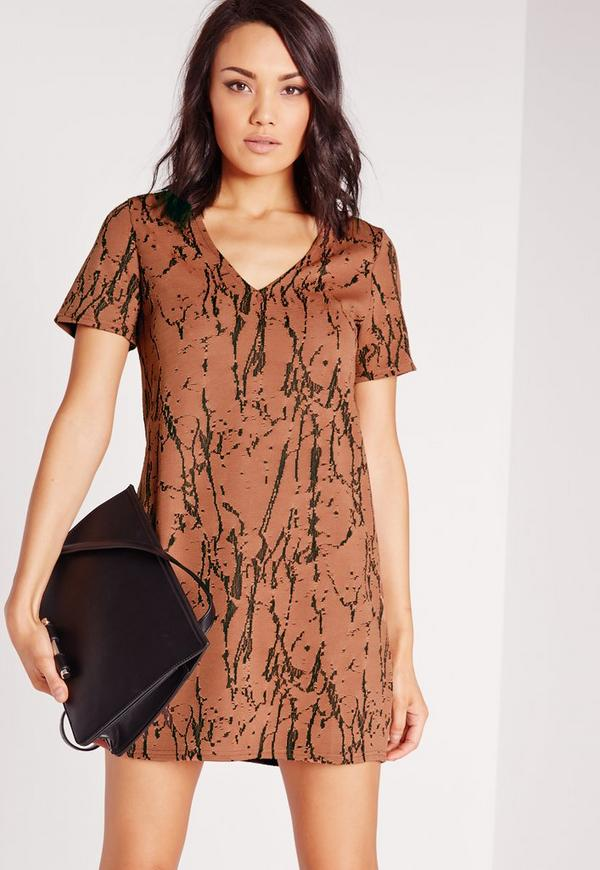Plunge Marble Knit Shift Dress Brown
