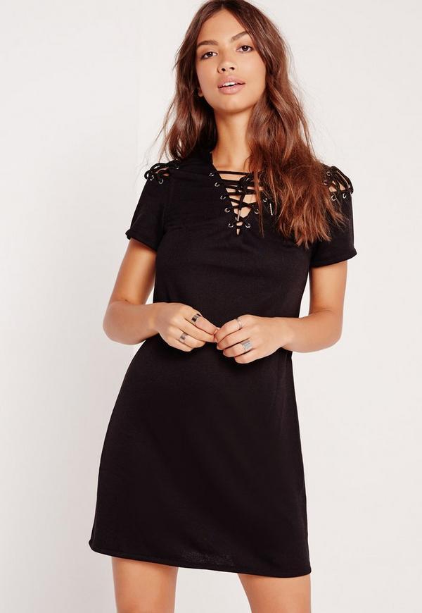 Lace Up Detail Sweatshirt Dress Black