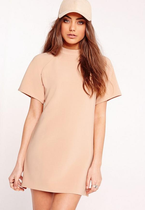 Short Sleeve Oversized Sweater Dress Nude