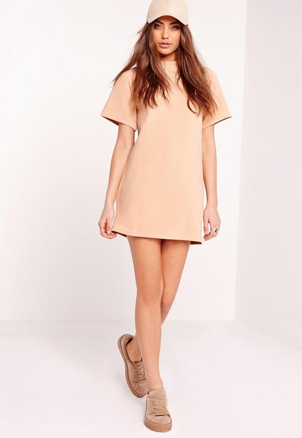 Short Sleeve Oversized Sweater Dress Nude | Missguided